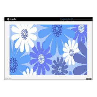 Flores hermosas y azules calcomanía para 43,2cm portátil