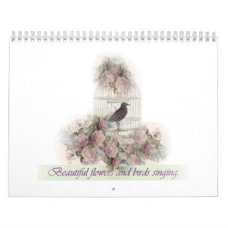 Flores hermosas y pájaros que cantan calendario de pared