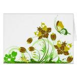 Flores, hojas, y mariposas 2 tarjeta