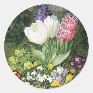 Flores holandesas de la primavera del bulbo pegatina redonda