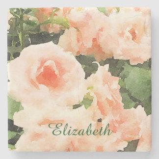 Flores inglesas de los rosas del melocotón hermoso posavasos de piedra