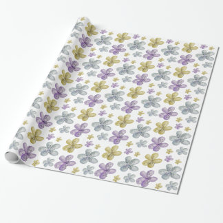 Flores inspiradas de la acuarela púrpura del oro papel de regalo