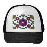 flores inspiradas retras coloreadas brillantes gorras de camionero