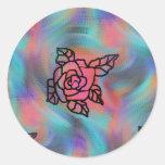 flores inspiradas retras coloreadas brillantes etiqueta redonda