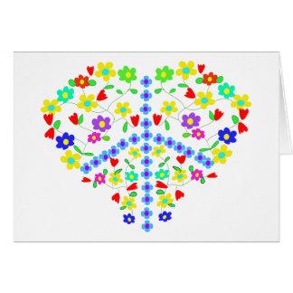 Flores internos de la paz con amor tarjeta pequeña