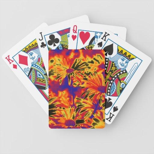 flores inusuales, neón baraja de cartas