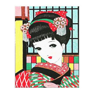 Flores japonesas del chica en el Pri estirado pelo Lona Envuelta Para Galerias