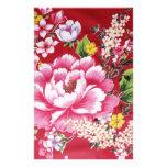 Flores japonesas del kimono papeleria de diseño
