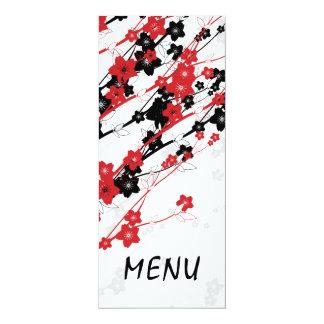 """Flores japonesas del menú elegante del boda rojas invitación 4"""" x 9.25"""""""