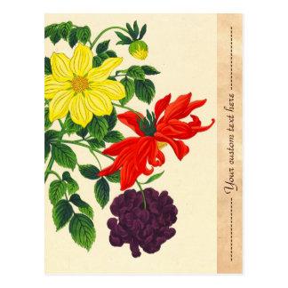 Flores japonesas orientales de las dalias de postales