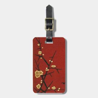Flores japoneses - rojo del vintage etiquetas de equipaje
