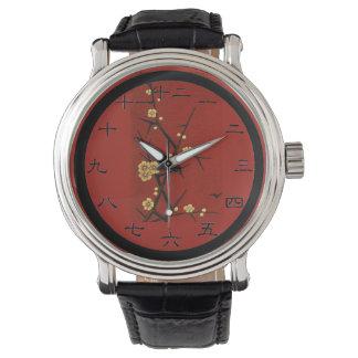 Flores japoneses - rojo del vintage relojes de pulsera