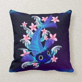 Flores Koi-Rosadas azules Cojín