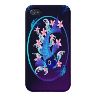 Flores Koi-Rosadas azules iPhone 4 Protector