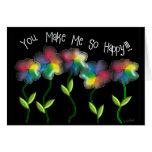 Flores lesbianas gay del arco iris felicitación