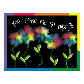 Flores lesbianas gay del arco iris tarjeta postal