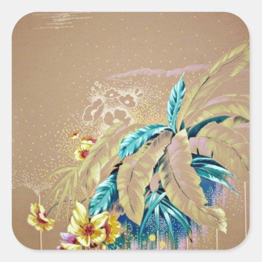 Flores ligeras del amarillo de la belleza calcomania cuadradas