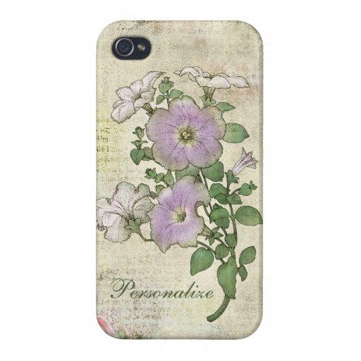 Flores lindas de la lila en fondo del vintage iPhone 4 carcasa