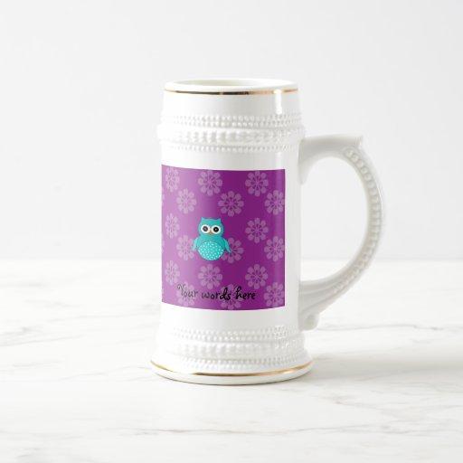 Flores lindas de la púrpura del búho de la turques tazas de café