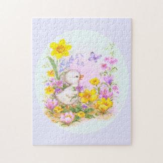 Flores lindas del polluelo y de la primavera del rompecabezas