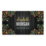 Flores lindas del remolino en la madera oscura tarjetas personales