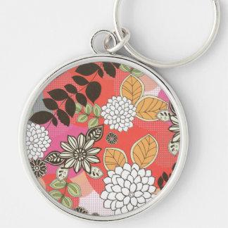 Flores lindas dulces de Kawaii del arco iris Llavero Redondo Plateado