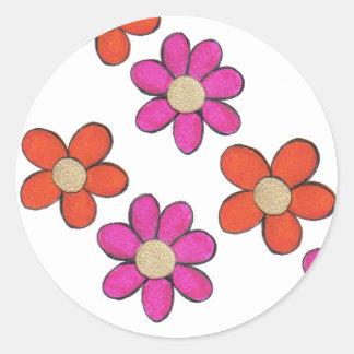 Flores lindas pegatina redonda