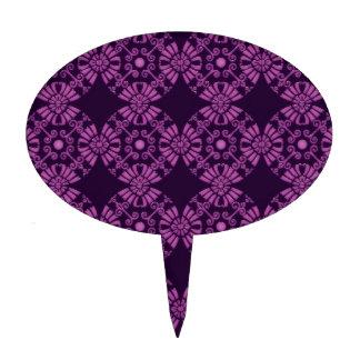 Flores lindas rizadas - púrpura en negro palillos de tarta