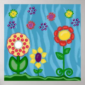 Flores lindas y coloridas, poster del estampado de