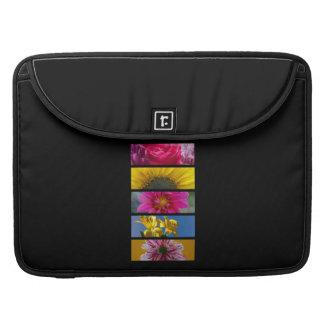 Flores macras rosadas y amarillas fundas para macbook pro