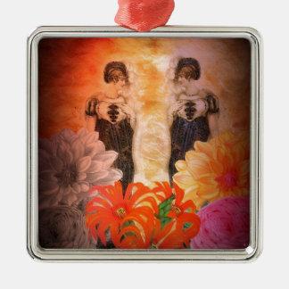 Flores magníficas del vintage de la reflexión adorno navideño cuadrado de metal