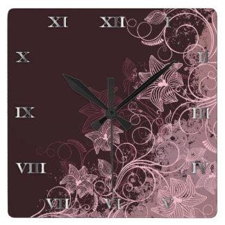Flores marrón - reloj - 1
