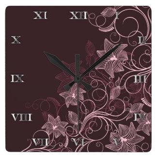 Flores marrón - reloj - 1B