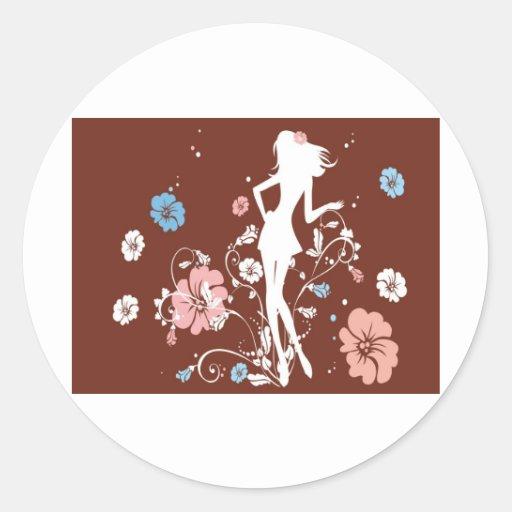 flores marrones psicodélicas del chica pegatina redonda