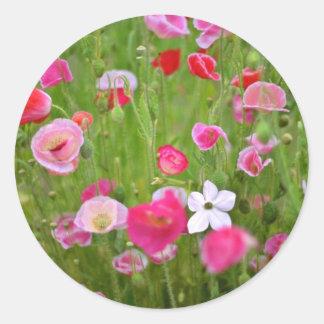 Flores mezcladas de las amapolas pegatina redonda