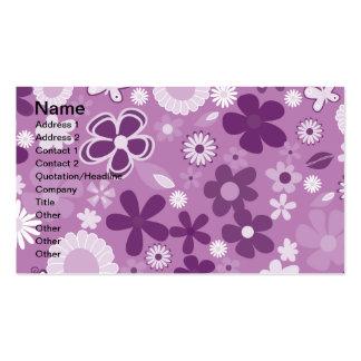 Flores mezcladas púrpuras tarjetas de visita