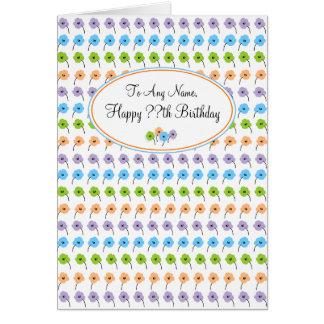 Flores minúsculas cualquier cumpleaños de la edad tarjeta de felicitación