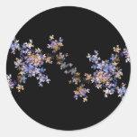 Flores minúsculas del arte del fractal pegatina redonda