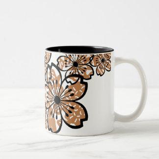 Flores modelados taza de dos tonos