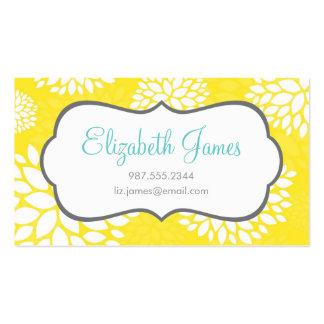 Flores modernas amarillas tarjetas de visita