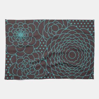 Flores modernas del extracto del trullo toallas de cocina