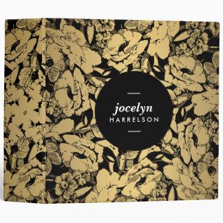 Flores modernas del oro en carpeta personalizada carpeta 5 cm