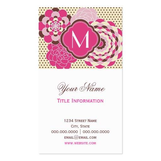 Flores modernas del rosa y del diseño floral de Br Tarjetas De Visita