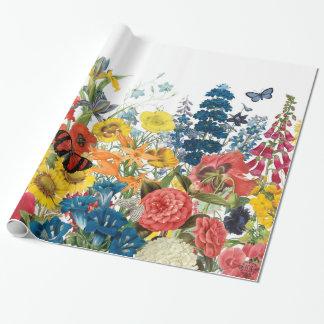 flores modernas del vintage papel de regalo