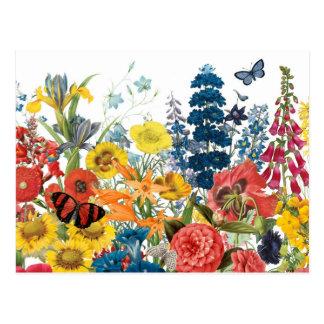 flores modernas del vintage postal