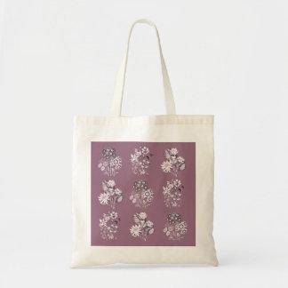 Flores monocromáticas en color de malva bolsa tela barata