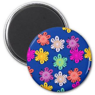 Flores multicoloras decorativas imán redondo 5 cm