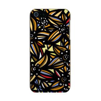Flores negras amarillas azules rojas florales funda para iPhone 5 incipio feather shine