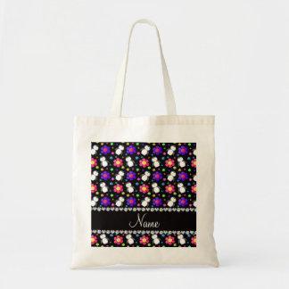 Flores negras conocidas personalizadas de los bolsa tela barata