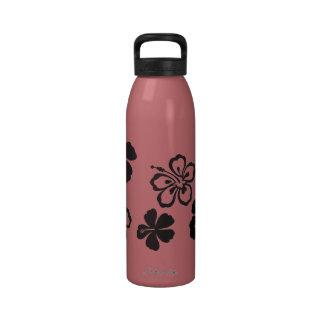 Flores negras del Hawaiian del hibisco Botellas De Beber